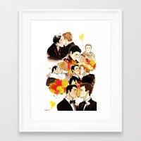 klaine Framed Art Prints featuring klaine throughout the seasons by suitfer