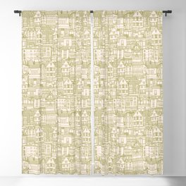 cafe buildings olive Blackout Curtain