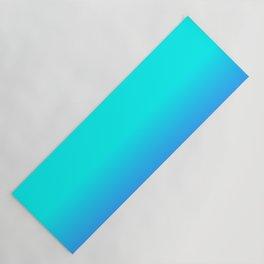 Neon Blue and Bright Neon Aqua Ombré Shade Color Fade Yoga Mat
