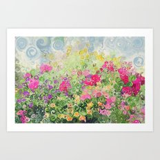 Dreamy Confetti Flower Basket Bouquet -- Whimsical Painterly Abstract Art Print