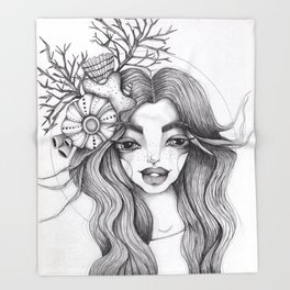 JennyMannoArt Graphite Drawing/Serena the mermaid Throw Blanket