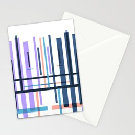 Purple blue abstract pattern stripes Stationery Cards