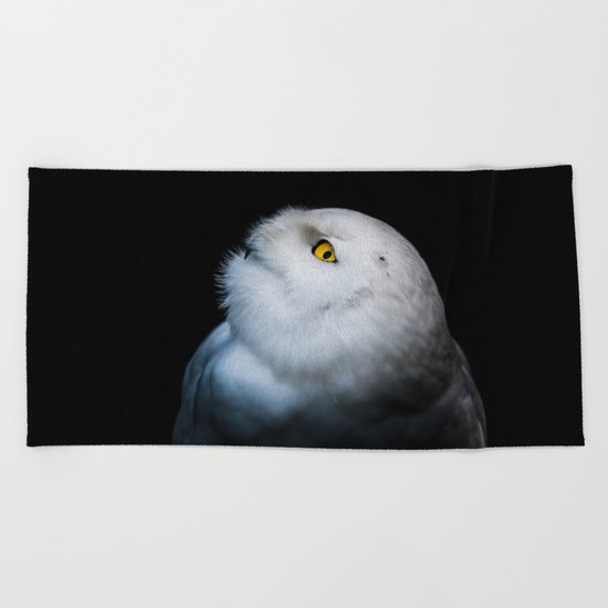 Winter White Snowy Owl Beach Towel