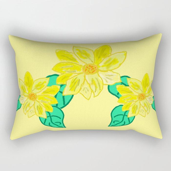 Painted Flower Rectangular Pillow