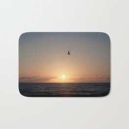flight over ocean sunrise Bath Mat