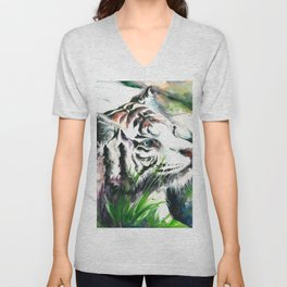 WHITE TIGER WATERCOLOR Unisex V-Neck