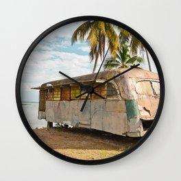 Playa Larga Bus Cuba Beach Hobo House Landscape Tropical Island Home Caribbean Sea Wall Clock