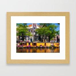Houseboat in the summer sun Framed Art Print