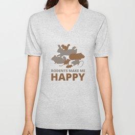 Rodents make me happy Unisex V-Neck