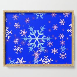DECORATIVE BLUE  & WHITE SNOWFLAKES PATTERNED ART Serving Tray
