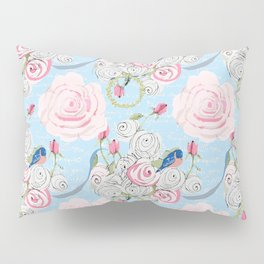 Bluebirds and Watercolor roses on pale blue with white French script Pillow Sham