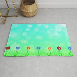 Floral field in summer Rug