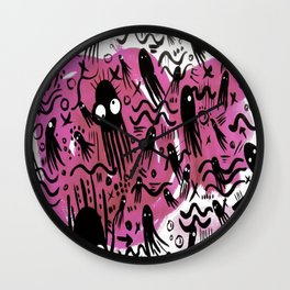 octopus Colorful Cartoon Octopuses Pattern black pink Wall Clock