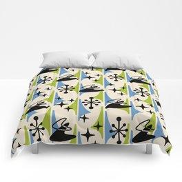 Mid Century Modern Cosmic Boomerang 726 Black Blue and Green Comforters