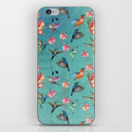 Vintage Watercolor hummingbirds and fuchsia flowers iPhone Skin