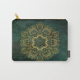 Golden Flower Mandala on Dark Green Carry-All Pouch