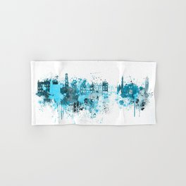 Bruges Monochrome Blue Skyline Hand & Bath Towel
