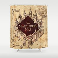 marauders Shower Curtains featuring MARAUDERS MAP by Graphic Craft