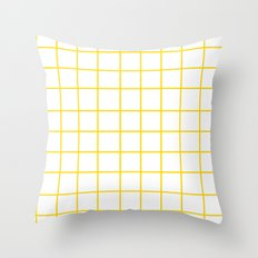 Grid (Gold/White) Throw Pillow