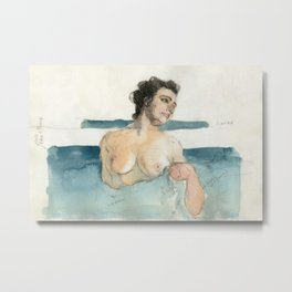 Watercolor Female Nude Woman Pencil Sketch Painting in Blue and Beige Metal Print