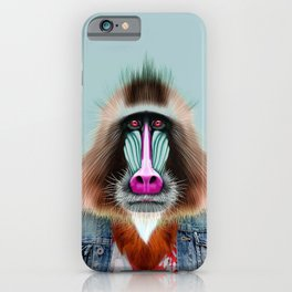 Mandrill monkey portrait  iPhone Case
