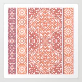 Terracotta Decorative Boho Tile Pattern  Art Print