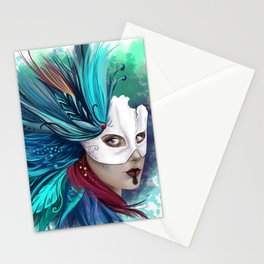 Feathers Mask Stationery Cards