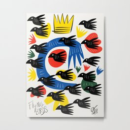 Flying Birds Illustration Pattern Metal Print