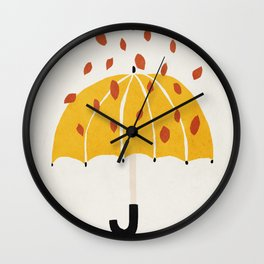 Umbrella, Autumn, Mid century modern kids wall art, Nursery room Wall Clock