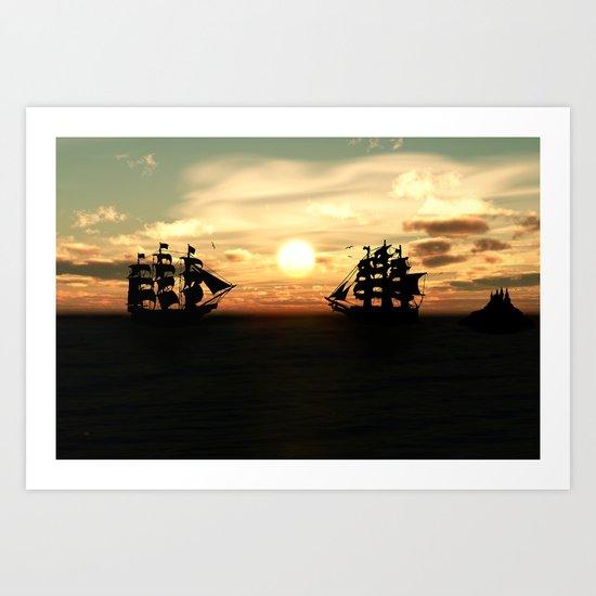 Seefahrt Begegnungen Art Print
