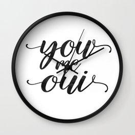 You Me Oui, art print, love print, print, minimalist, script, cursive, typography Wall Clock