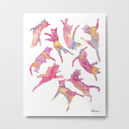 Watercolor Flying Cats - Pink Palatte Metal Print