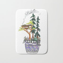 Forest Tree House - Woodland Potted Plant Bath Mat