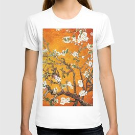 Vincent van Gogh Blossoming Almond Tree (Almond Blossoms) Orange Sky T-shirt