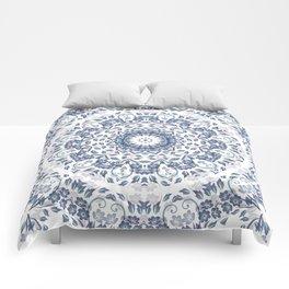Grayish Blue White Flowers Mandala Comforters