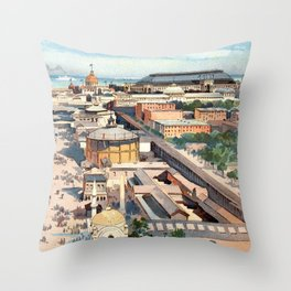Amazing View from the Ferris Wheel in Chicago 1893 Throw Pillow