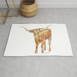 Texas Longhorn Steer Watercolor Rug