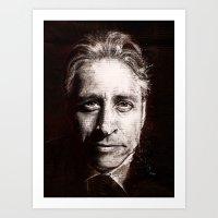 jon contino Art Prints featuring Jon Stewart by Fay Helfer