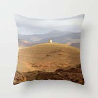 greg guillemin Throw Pillows featuring Greg Katz Morocco landscape  by Artlala for MSF Doctors Without Borders