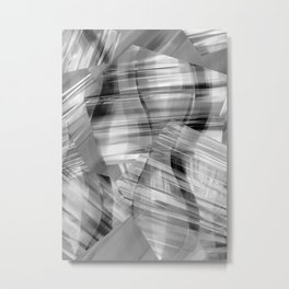 Tartan Cliffs -- grayscale Metal Print