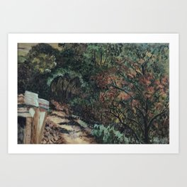 Lighted Path Through Green - Oil on canvas painting Art Print
