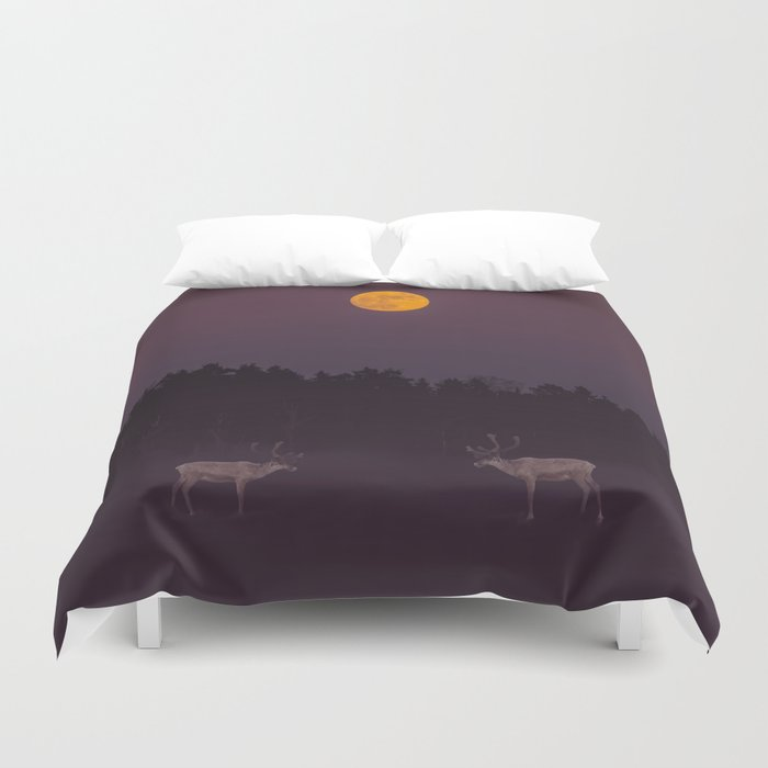 Full Moon - Winter Night With Reindeer At Edge Of Forest #decor #buyart #society6 Duvet Cover