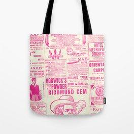 Old Tyme Newspaper Pink Tote Bag