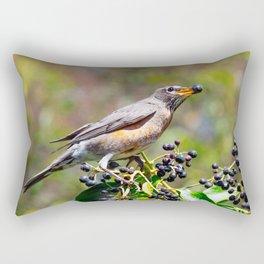American Robin Foraging Berries Rectangular Pillow