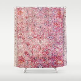 N45 - Pink Vintage Traditional Moroccan Boho & Farmhouse Style Artwork. Shower Curtain
