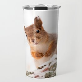 Squirrel in first snow #decor #buyart #society6 Travel Mug