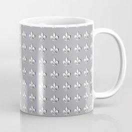 White fleur de lis on gray Coffee Mug