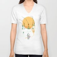 norway V-neck T-shirts featuring Beach House - Norway by Valentina Gruer