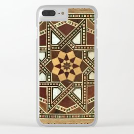 wood star Clear iPhone Case