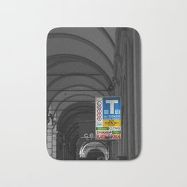Blue Tabacchi Lotto Bologna Sign Black and White Photography Bath Mat